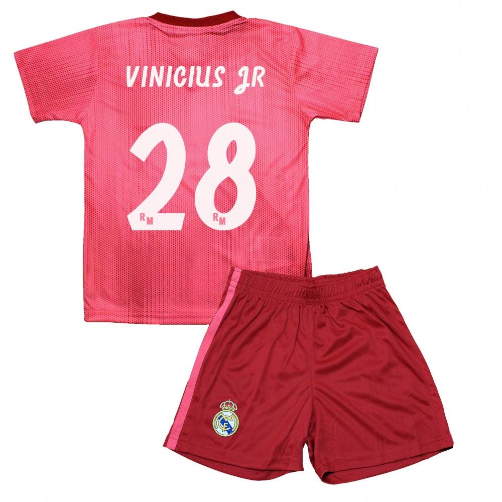 9fb246ce95a71 Tercera Equipación Vinicius Junior Réplica Oficial del Real Madrid 2018-19.  Está compuesta por la camiseta y los pantalones. Este producto es una  Réplica ...