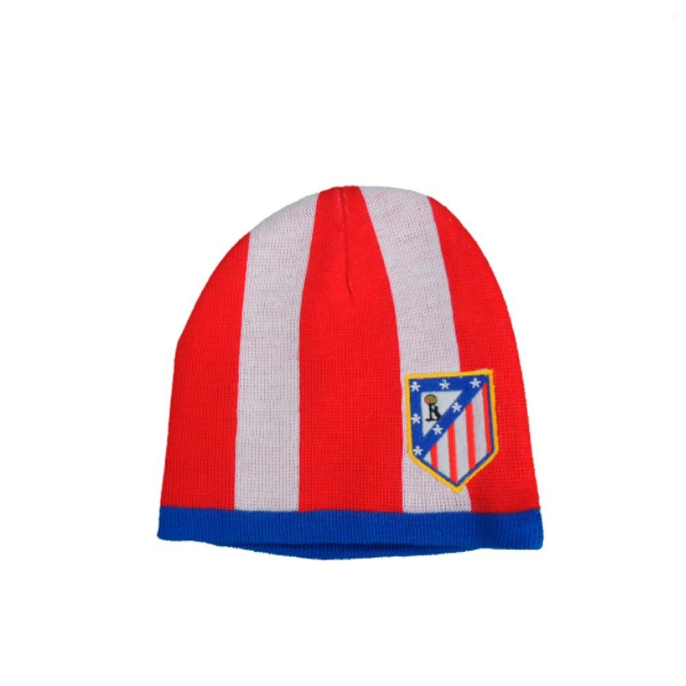 Gorro lana invierno Atlético de Madrid adulto. Talla unica. Color franjas  rojas y blanca y escudo bordado en parte delantera. Producto oficial. 7e97cd1bb18